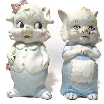 Light Blue Vintage Lefton Cat and Dog Salt and Pepper Shaker Set