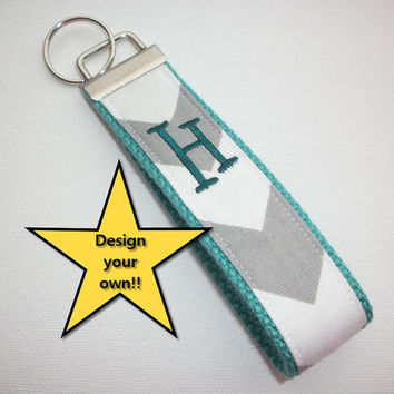 Key FOB / KeyChain / Wristlet  - inital monogram on your choice of chevron preppy -  custom - design your own