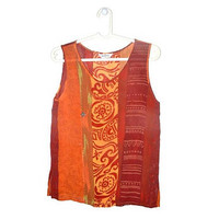 Vintage Orange Boho Tank Top Festival Clothing Hippie Sleeveless Top 80s 90s Medium M