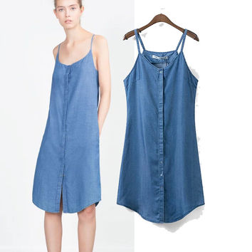 Summer Denim Spaghetti Strap One Piece Dress [4920231940]