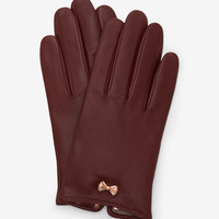 Metallic bow leather gloves - Oxblood | Gloves | Ted Baker UK