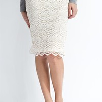 Scallop Lace Skirt- Eggnog