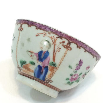 Antique Chinese Tea Bowl, Rose Famille Style, Mandarin Colors & Figures, Small Roses Rooster Bees, 1700s Estate Chinese Export Porcelain