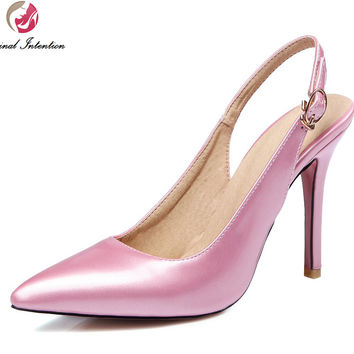 Original Intention Stylish Women Pumps Pointed Toe Thin Heels Pumps Beautiful Black Pink Red Nude Shoes Woman US Size 3.5-15