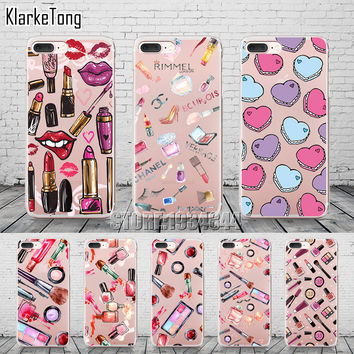Fashion Makeups Cosmetic Phone Case For iPhone 7 7Plus 5 5S SE 6 6S 6Plus Transparent Soft Silicone Fundas Coque Capa Cover