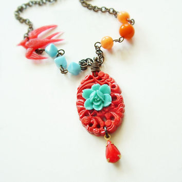 Retro Red Aqua Rose Beaded Cinnabar Necklace Bright Colorful Vintage Beads
