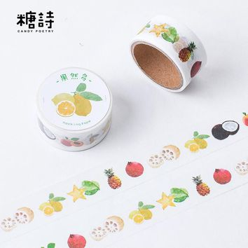 1Pcs New More Fruit Story Pineapple Orange Washi Tape Decorative Scotch Tape For Scrapbook Stickers Diy Masking Tape 7M M0235
