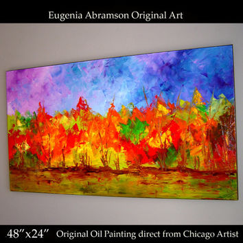 Landscape Original Modern Oil Painting on Canvas 48x24 Huge Fine Art palette knife technique Contemporary Wall Decor by Eugenia Abramson