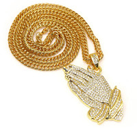 Praying Hand Gold Fashion Hip Hop Necklace with 30 inch Link Chain