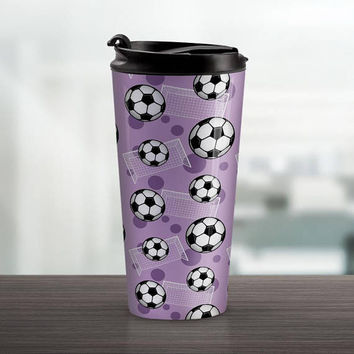 Purple Soccer Travel Mug - Sports Pattern with Soccer Balls and Goals over Purple - 15oz Stainless Steel - Made to Order