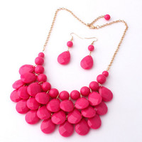 Hot Pink Statement Bib Jewelry,Tear Drop Bubble Jewelry Set,Bridal Party/Holiday Necklace, Wedding Gift, Free Gift Packaging Available