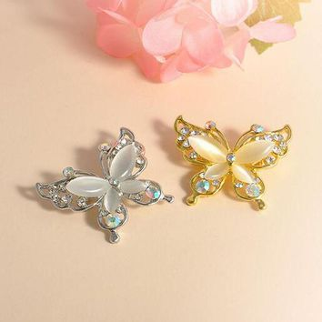 Fashion Brooches Jewelry Women Gold/Silver Crystal Rhinestone Plated Butterfly Brooch Pin