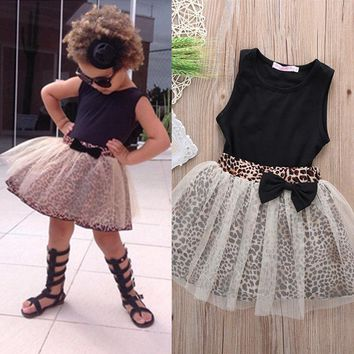 Top Kid Baby Girl Sleeveless Round Collar Top+Lace Dress 2Pcs Suit Outfit set