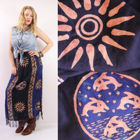 90s - Abstract - Blue & Black - Ethnic Batik - Celestial Sun - Dolphins - Tassel - Long Maxi Skirt - Hippie - Boho - XL - Plus Size
