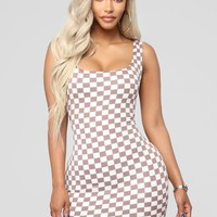 Racing Heartbeat Checkered Dress - Light Taupe