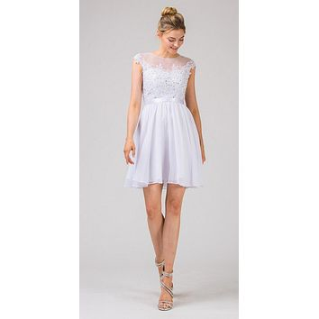 Appliqued Bodice Wedding Guest A-Line Dress Knee-Length White