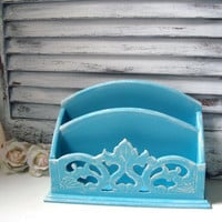 Beach Chic Blue Mail Holder, Shabby Chic Blue Distressed Letter Holder, Bill Holder, Office Organization, Cottage Chic Mail Holder