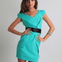 Green Day Dress - Satin Band Wrap Green Chanice | UsTrendy