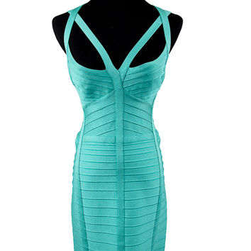 Seafoam Green Rayon Bandage Dress Size:M