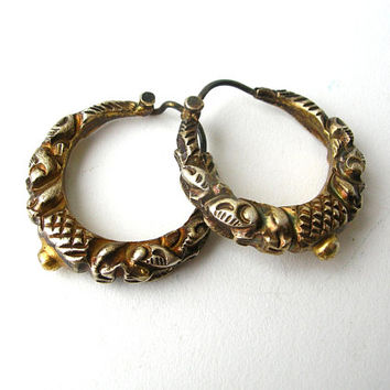 Rare Antique Earrings, Repousse Earrings, Repousse Hoop Earrings, Antique Jewelry, Rare Antique Jewelry