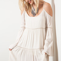 Whether you live the beach lifestyle year-round or dream of making the great escape with this Endless Summer Crochet Insert Gauzy Cold Shoulder Boho Dress, it made from gauze and lightweight textured endless summer fabrication, this slightly oversized silh