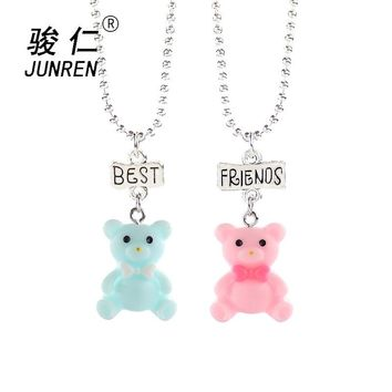 2 pcs/set Cute candy colored Bow blue pink bear Pendant Necklaces For Children Best Friend Necklace Kids love jewelry gifts