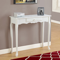 "Accent Table - 36""L / Antique White Hall Console"