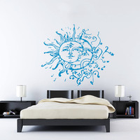 Wall Decal Vinyl Sticker Decals Art Home Decor Design Mural Sun Moon Crescent Dual Ethnic Stars Night Symbol Sunshine Fashion Bedroom AN90