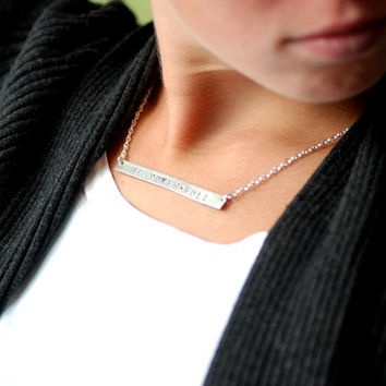 New Age Jewelry, Spiritual Jewelry, Meditation Jewelry, Personalized, Silver Bar Necklace, Touchstone, Word Necklace - Be Power Full