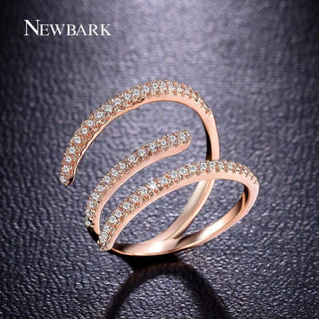 NEWBARK Unique 3 Incomplete Circles Design Rings Yellow Rose Gold Plated Silver Color Zirconia Cool Ladies Women Jewelry