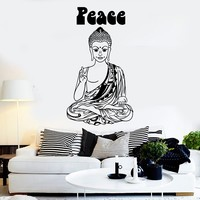 Vinyl Wall Decal Hippie Buddha Peace Buddhism Pacifism Stickers Unique Gift (ig3833)
