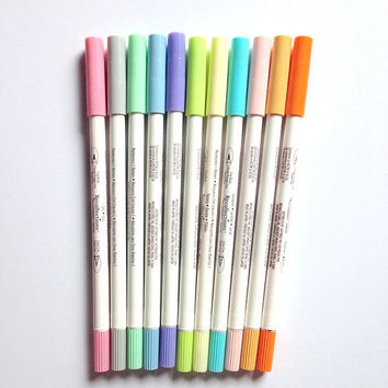 Dual tip Fine brush and extra fine color pens, paper crafts, scrapbook supplies, rubber stamp supplies, pastel pens, drawing sketching