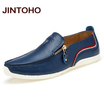 Spring Autumn Genuine Leather Slip On Men Loafers Fashion Casual Zip Men Flats Shoes Fashion Men's Leather