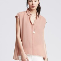 Banana Republic Womens Crepe Pleat Back Top