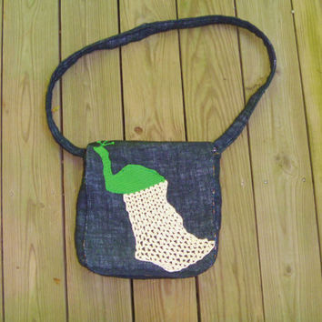 Black Burlap Messenger Bag with Crochet Peacock Applique