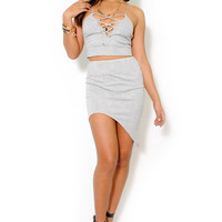 (alv) Plunging cage gray cropped bustier