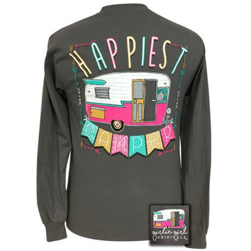 Girlie Girl Preppy Happiest Camper Long Sleeve T-Shirt