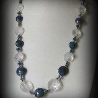 Hammered Quartz Necklace with Lampwork Beads, Apatite, and Sterling Silver,  Statteam