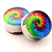 Tie Dye Picture Plugs STYLE 1 gauges - 00g, 1/2, 9/16, 5/8, 3/4, 7/8, 1 inch