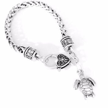 Sea Turtle Animal Ocean Beach Nautical Nature Gift For Her Charm Bracelet