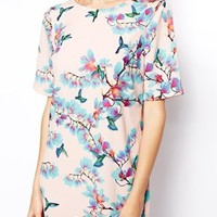 ASOS Digital Bird Print T-Shirt Dress
