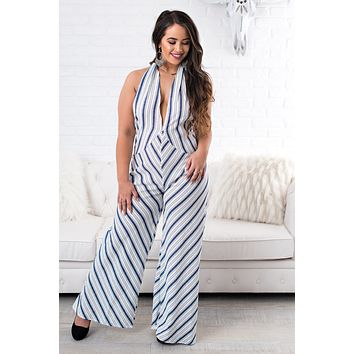 Beau Striped Crossover Jumpsuit  (Navy)