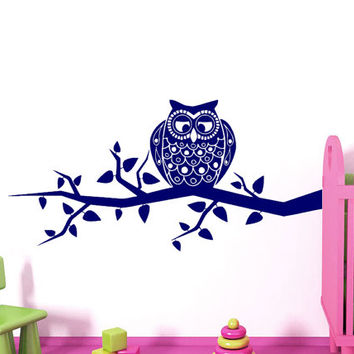 Wall Decals Owl on Branch Childrens Decor Kids Vinyl Sticker Wall Decal Nursery Baby Room Bedroom Murals Playroom - Owl Decor SV6008