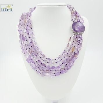 Lii Ji Natural Amethyst Ametrine 6 Strands, 925 Sterling Silver Setting Women's Big Necklace