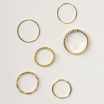Golden Twisty Textured Ring Set
