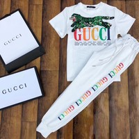 Gucci Women Short Sleeve Top Pants Two-Piece