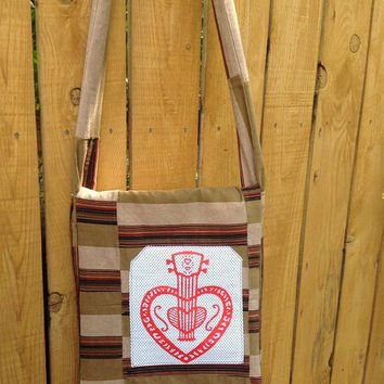 Handy Hip Bag Cross Body Shoulder Bag Striped Corduroy Quilted with Heart Mandolin