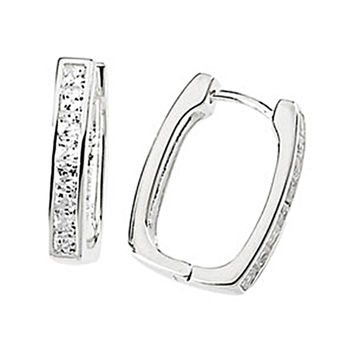 1.36 ct tw Princess Cubic Zirconia Hinged Hoop Earrings