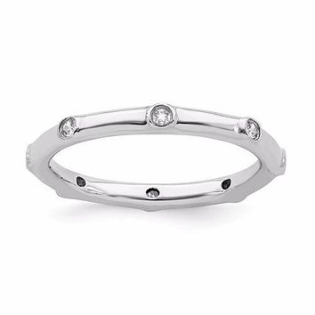 Sterling Silver Stackable Expressions April White Topaz Ring