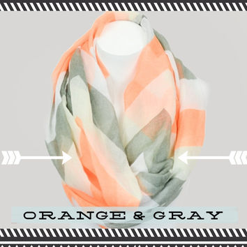 Giant Chevron Infinity Scarf: Orange and Gray or Mint and Lime, Indie Vintage-Style Loop Scarf, Trendy, Pretty and Cute Womens Chevron Scarf